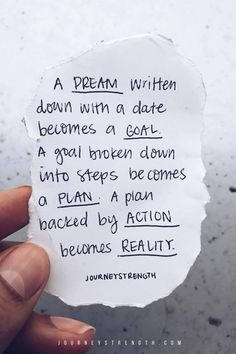 A DREAM written down with a date becomes a GOAL. A goal broken down into steps becomes a PLAN. A plan backed by ACTION becomes reality. | Inspirational quotes | motivational quotes | motivation | personal growth and development | quotes to live by | mindset | self-care | strength | courage | You are enough | passion | dreams | goals | Journeystrength  #InspirationalQuotes  |  #motivationalquotes |  #quotes  |  #quoteoftheday  |  #quotestoliveby  |  #quotesdaily