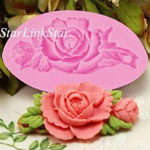1 unids 3D Rose flor de silicona formularios Fondant Cake de Chocolate jabón del arte del azúcar del molde del molde cortador herramientas de silicona magdalena DIY(China (Mainland))