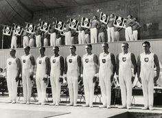 German gymnasts / Berlin Olympics/ 1936 XI Olympic Games, 1–16 August 1936, Berlin.  The victorious German gymnasts (five gold medals).