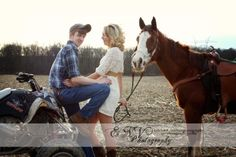 country couple engagement pictures with horses and old barns. <3