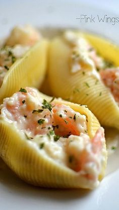 Creamy Seafood Stuffed Shells Recipe. great idea to spruce up manicotti by adding some lobster or crab (: