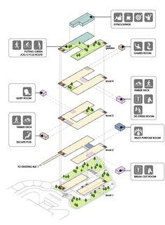 Imagen 10 de 15 de la galería de Nuevo edificio de administración del Instituto de Salud Mental / LOOK Architects. Diagrama isométrica