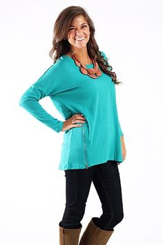 Gettin Zippy With It Top, jade $39.00 Comfy and cute? Why wouldn't you want this tunic?? Not to mention, the color is gorgeous and the zippers are super trendy:) This one looks great with leggings but dark denim would work as well.   Fits true to size. Miranda is wearing the small.  www.themintjulepboutique.com