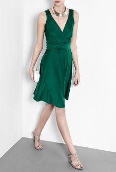 DKNY | Emerald Green Sleeveless V-Neck Dress by DKNY
