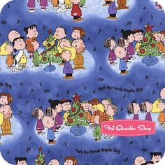 Christmas Time Blue Characters Caroling Yardage SKU# 22654-B