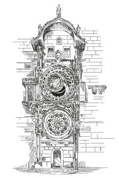 Prague Charles Bridge, Edwardian Architecture, Prague Astronomical Clock, Cafe Interior Design, City Illustration, Coloring Pages To Print, Scrapbook Journal, Vintage Travel Posters, Ink Art
