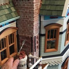 How amazing is this 1:12 scale dollhouse by R. Bruce Miller ( @rbrucemillerz51 )?!?! He used about 1,500 of our 1:12 scale red bricks and mortar to create the chimney! To create the weathered look on the bricks, he used a sponge and a bit of mortar and dusted off the excess. You have to scroll through these images to see how beautiful the workmanship is! Absolutely incredible work!!!! Brick And Mortar, Red Bricks, How Beautiful, Wood Watch, Bird Houses, The Incredibles, Mercury, Amazing, Madness