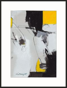 Art  Painting  Abstract 7x10 inch black yellow by kuzennyArt