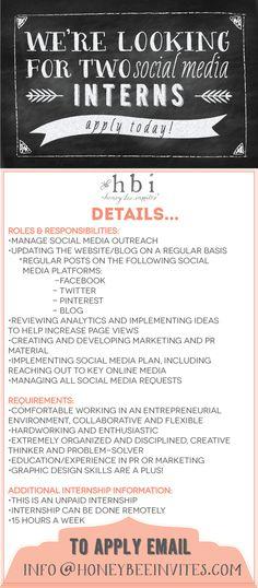 HBI is looking for two social media interns! Help spread the word!   via @honeybeeinvites