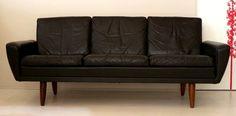 Black leather three seater sofa on rosewood splayed legs by Gustav Thams for Vejen Polstermøbelfabrik