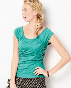 Veranda Knit Top inspiration- raglan upper-bodice with side ruching and cap sleeves