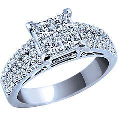 Ben Moss Jewellers 1.25 Carat TW, 14k White Gold Diamond Engagement Ring