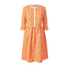 Silk Cotton Sleeve Frill Dress 17SWOTT745-Persimmon.jpg