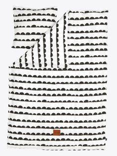 Ferm Living Dekbedovertrek 'Half Moon' zwart/wit gestreept katoen 140x200 cm -Adult