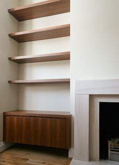 5 Prodigious Useful Ideas: Fireplace Built Ins With Tv fireplace living room tutorials. Alcove Storage, Alcove Shelving, Wall Shelving Units, Built In Shelves, Floating Shelves, Fireplace Bookshelves, Fireplace Built Ins, Modern Fireplace, Cozy Fireplace