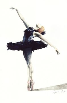 Black Swan Ballerina Feather Tutu Swan Lake - Giclee Print of Watercolor 6 x 9 - Natalie Portman The Red Shoes Black Plumes