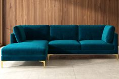 •Modular seats with clip connectors •Comfortable medium soft seat and         relaxed seating angle •Multiple seat and leg colors to choose from         •Removable seat and cushion covers •Timeless modern design with sleek         metal legs Condo Living Room, Decor Home Living Room, Studio Living, Apartment Living, Home And Living, Home Decor, Teal Velvet Sofa, Teal Couch, Green Sofa Inspiration