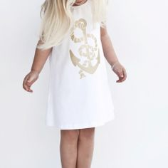 YmamaY Admiralty Bay Dress White/Gold $57.90 Boutique Clothing, Tutu, Kids Fashion, White Dress, White Gold, Pharmacy, Anchor, Clothes, Collection