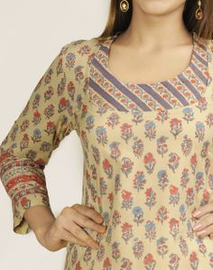 Fabindia.com | Cotton Printed Scoop Neck Long Kurta