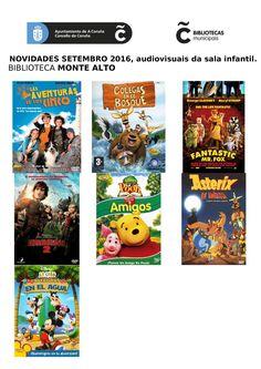 Novos audiovisuais do mes de setembro da sala infantil e xuvenil da biblioteca Monte Alto.