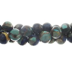 10mm Turquoise Gemstone Bead Strand, Lapis/Malachite