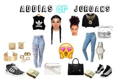"""""""~ Addias ~ or ~ Jordans ~"""" by naybeauty98 on Polyvore featuring Bullhead Denim Co., adidas, Moschino, NIKE, H&M, Apt. 9, MICHAEL Michael Kors, Tag Heuer, Effy Jewelry and Wildfox"""