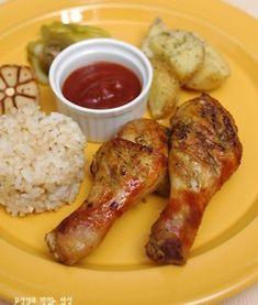 재료준비 Baby Food Recipes, Cooking Recipes, Vegan Party Food, Baking Items, Korean Food, Chicken Wings, Sausage, Bakery, Food And Drink