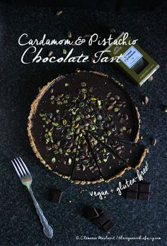 #Vegan Cardamom & Pistachio Chocolate Tart #Glutenfree