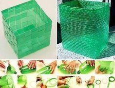 #diy waste basket made out of plastic soda bottle