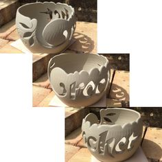 'Crochet' word cut out yarn bowl. Unfired. earthwoolfire@gmail.com