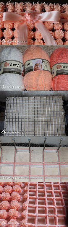 Как сделать плед из помпонов за один день - 3 мк