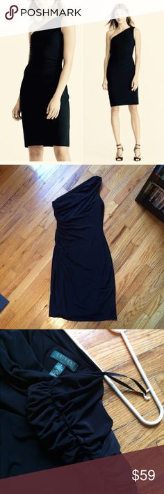 """Ralph Lauren one-shoulder dress 👗 One-shoulder dress with a modern, sexy style. Only worn a couple of times-- great condition.  Slim fit. US size 8 -- 41"""" from top of shoulder to bottom of dress. Low strapless side is 32"""" Pull-on styling. One-shoulder silhouette. Rouched side as seen in photo, very flattering. Semi cowl back and neck. Fully lined. Shell and lining: 95% polyester, 5% elastane. Machine washable. Imported. Lauren Ralph Lauren Dresses One Shoulder"""