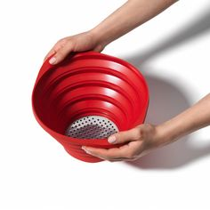 Collapsible Strainer. It's design is tough enough to handle hot potatoes, yet flexible enough to collapse and store without taking up cupboard space.