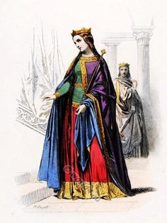 Costume French carolingian queen and king. Ceremonial robes.