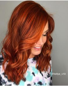 Red hair copper hair joico olaplex vivid love my bright copper vividhaircolors redhead beachwaves ginger @kellye_v10 instagram @jquinn29 instagram Jenna Quinn artistry