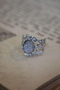 Rainbow Moonstone Ring. $20.00, via Etsy.
