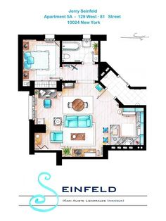 Seinfeld | 13 Incredibly Detailed Floor Plans Of The Most Famous TV Show Homes