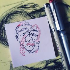 """Fun. Sketch. Continuous line blind drawing of my favourite preacher, Paul Washer. Find His passionate preachings on the gospel of Jesus Christ here: www.sermonaudio.com (Just type """"Paul Washer"""" in the search box). May His preaching of truth warm your heart 💗 #paulwasher #preacher #reformed #theology #truth #bible #art #sketch #ink"""