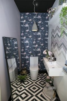 Grand Designs - The Lavatory Project - downstairs cloakroom/toilet Small Toilet Room, Guest Toilet, New Toilet, Quirky Bathroom, Bathroom Colors, Bathroom Ideas, Cloakroom Ideas, Bathroom Modern, Unusual Bathrooms