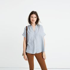 Central Shirt in Chambray Stripe : button-up & popover shirts | Madewell
