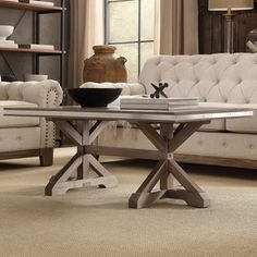 SIGNAL HILLS Abbott Rustic Stainless Steel Strap Oak Trestle Occasional Table