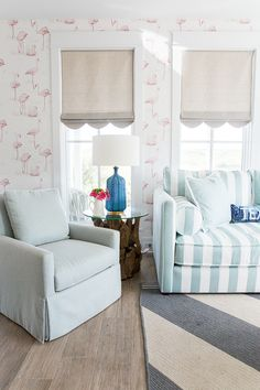 roman shade detail / COASTAL LIVING 2015 SHOWHOUSE: Den & Powder Rooms Before & After - Peppermint Bliss