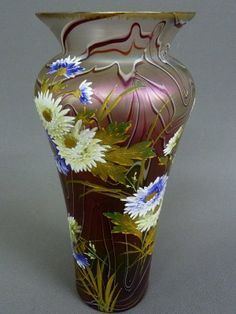 Fantastic Hand Blown Art Glass Vase (Possibly Loetz) With Hand Enameled Flowers   c. 1900