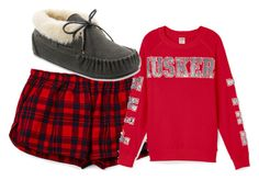 """""""Huskers"""" by boobear1998 ❤ liked on Polyvore featuring Victoria's Secret PINK and Minnetonka"""