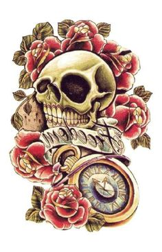 Large Temporary Tattoo Skull Rose Ankle Shoulder Neck by Tempotats