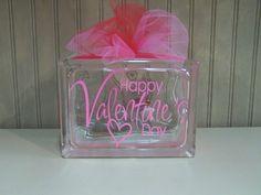 valentines day  glass block