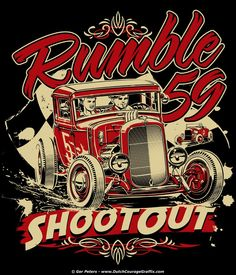 T-shirt artwork for Rumble59.com - Stoked to be contributing to the Rumble59 Artist Collection #hotrod #hot #rod #wear #tshirt #artwork #Rumble59