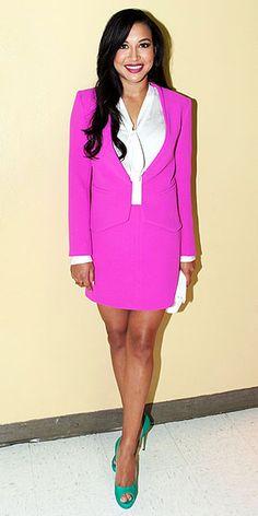 Naya Rivera in hot pink Diane von Furstenberg suit to a cast performance at a Culver City, CA school