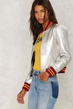 Nasty Gal Steel Your Heart Bomber Jacket - Silver - Fall Essentials | 30% Off Bombers | Bomber Jackets | Jackets + Coats