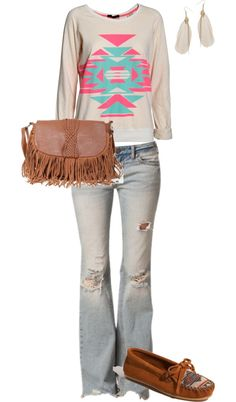 Definitely getting in touch with my inner bohemian goddess Fringe Purse, Tribal Prints, Suede Shoes, Bell Bottom Jeans, Fashion Looks, Bohemian, Touch, Purses, Polyvore